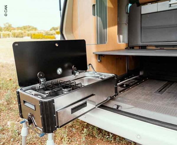 Mobile cucina posteriore scorrevole e estraibile per furgoni camperizzati con fornello e lavabo
