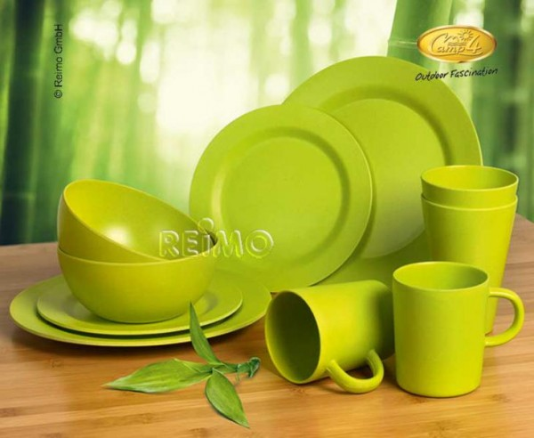 Camping Geschirr Set Lime aus Bambus