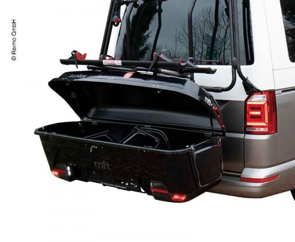 Box portabagagli posteriore per gancio traino e portabici, basculante, mft nero lucido
