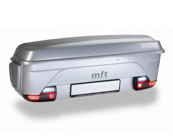 Box portabagagli posteriore per gancio traino e portabici, basculante, mft argento lucido