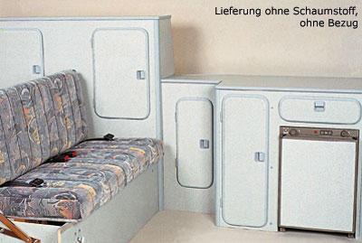 Arredamento camper, mobili Speedy, con tavolo e panca sedere / dormire, per VW T3