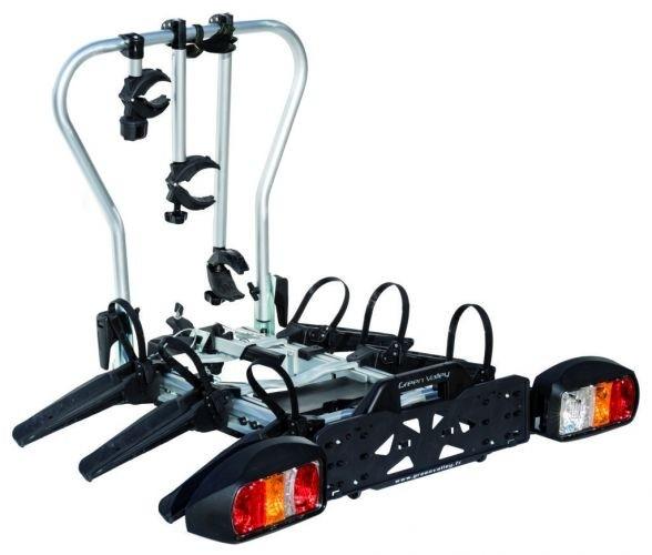 Fahrradträger für Anhängerkupplung für 3 Fahrräder, erweiterbar für 4 Fahrräder speziell für Camping